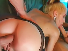 Cum on stocking, Double dick, Double blow, Gangbang stockings, Stockings gangbang, Stockings and anal