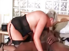Interracial, Black, Riding, Granny