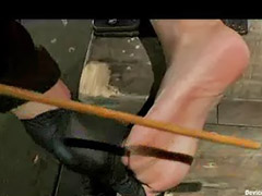 Feet, Caning, Feet fetish, Cane, Feet bondage, Bound and gagged