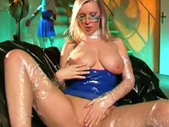 Bitch girl, Shiny, Latex dress, In blue, Latex girls, Shiny solo