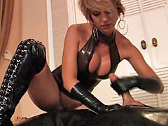 Latex, Handjob, Mistress