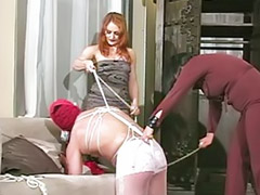 Torture, Pantyhose threesome, Pantyhose bondage, Tortured, Black slave, Pantyhose fetish