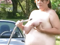 Cleaning, Belly, Fat big belly, On car, Fat belly, Clean