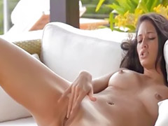 Pussy posing, Posing pussy, Brunette couch, Posing solo, Solo girl poses