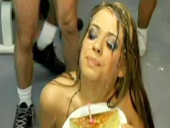 For birthday, Brunette gangbang bukkake, Cum for her, Birthday
