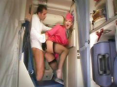 Stewardess, Stockings handjob, Stocking handjob, Stewardess handjob, Stewardess blowjob, Stewardess anal