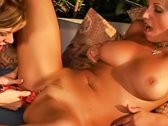 Dildo pussy blonde, Two dildo, One and two, Lesbian and dildo
