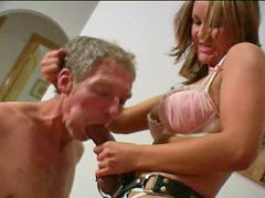 Knee, Strap on gag, On knees, Femal and femal, Domi, Strapon on