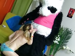 Panda, Dildo fuck, Teen blond dildo, Teen with dildos, Toys pink, Pink teen