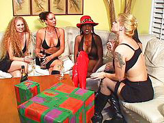 Interracial strap on, Femdom big tits, Blond milf gangbang, Big tits strap on, Boots interracial, Cum on stocking