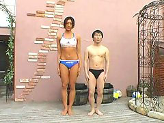 Tall, Tall asian, Amazon, Asian tall, 2 man 1 woman, Little asian